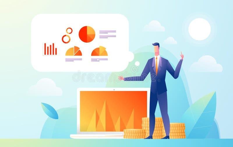 Presentación de la demostración del hombre de negocios a la audiencia con estadística de los datos y del gráfico Ejemplo isométri ilustración del vector