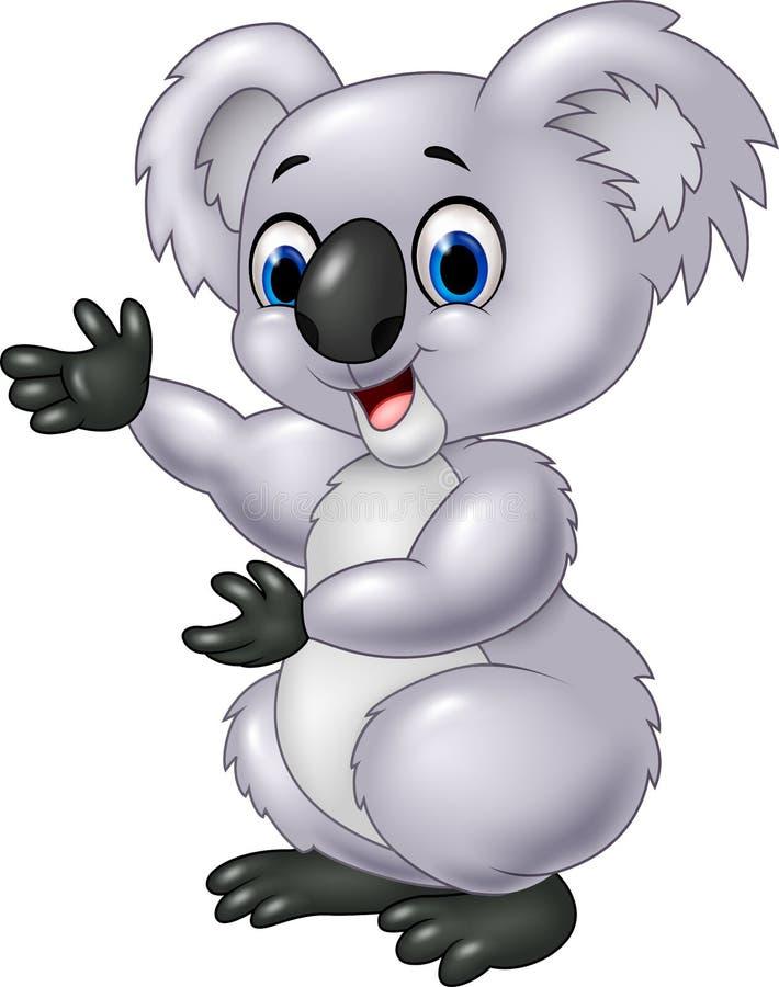 Presentación de la koala de la historieta aislada en el fondo blanco stock de ilustración