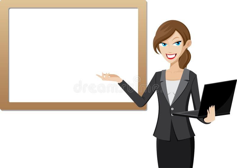 Presentación de la trabajadora con el ordenador portátil del whiteboard y del ordenador stock de ilustración