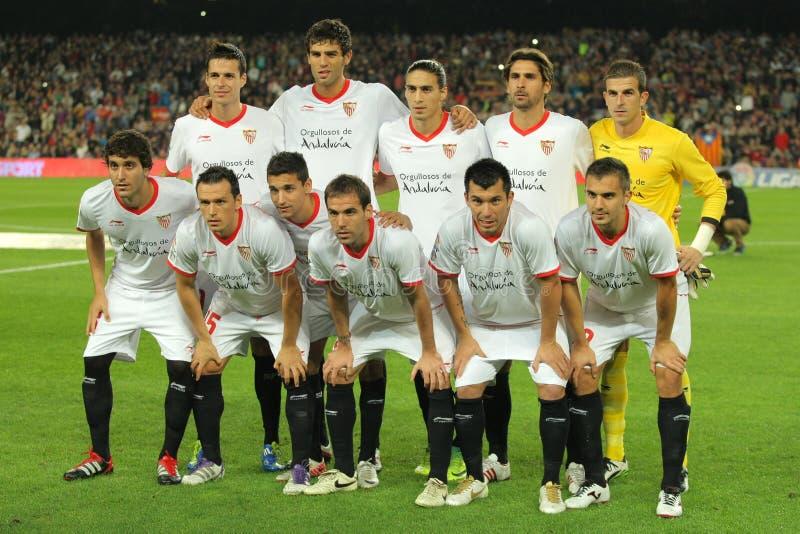 Presentación de las personas de Sevilla FC fotografía de archivo libre de regalías