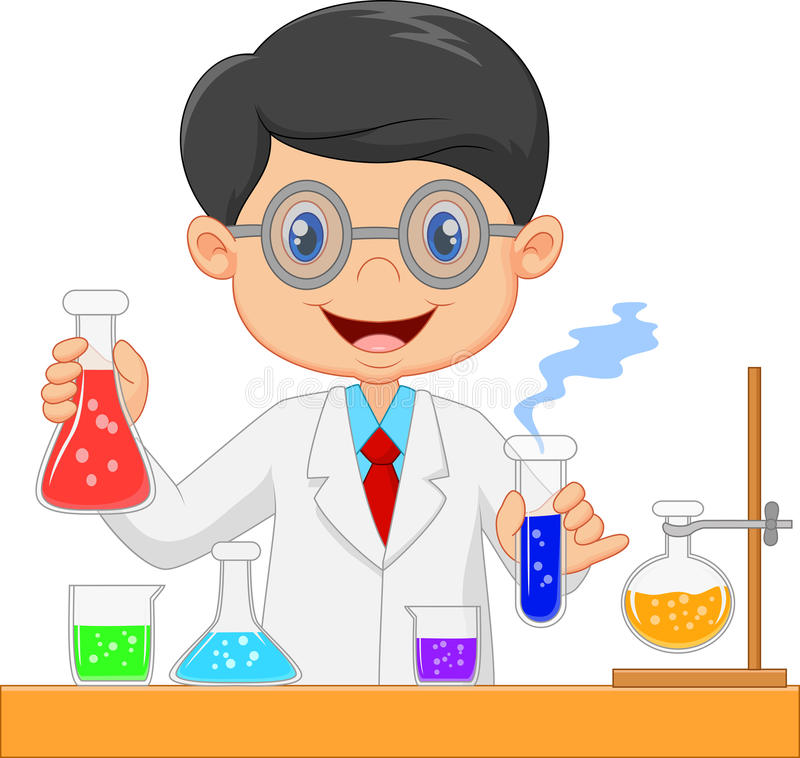 Presentación de los científicos de la historieta stock de ilustración