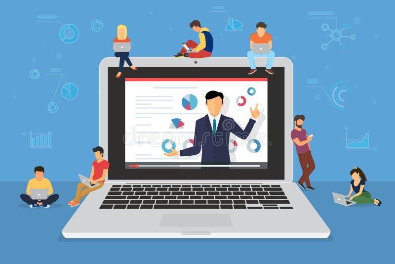 Presentación del altavoz del seminario del negocio y entrenamiento profesional sobre el márketing, ventas y comercio electrónico ilustración del vector