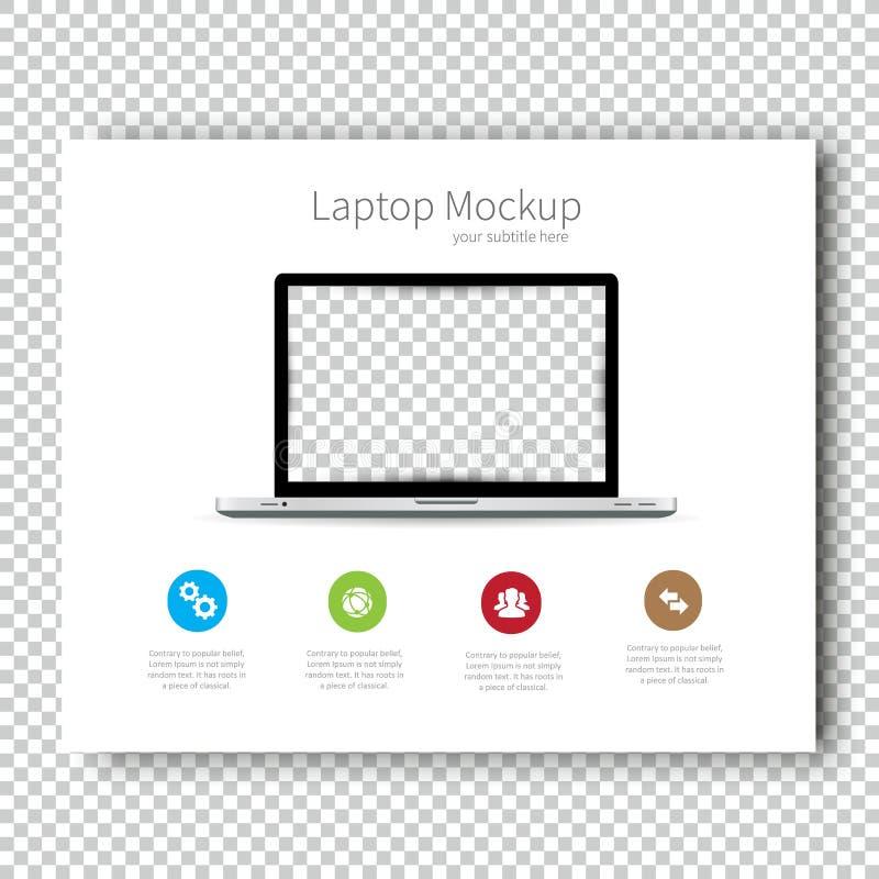 Presentación del diseño del aviador del ordenador portátil de la maqueta del folleto de la plantilla del negocio Muy fácil de uti ilustración del vector