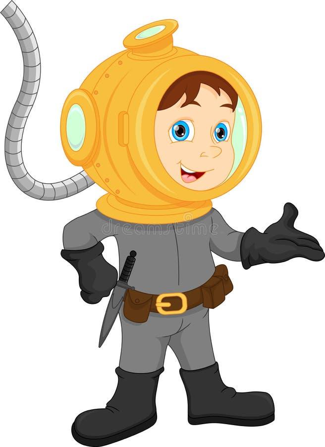 Presentación del muchacho del buceador stock de ilustración