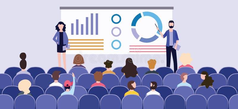 Presentación del negocio con las cartas en el tablero delante de la audiencia en la conferencia ilustración del vector