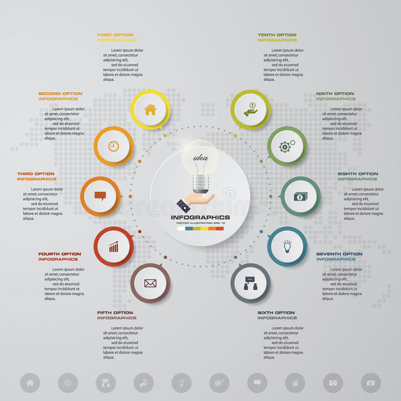 Presentación del negocio de la plantilla del infographics del vector 10 opciones EPS 10 stock de ilustración