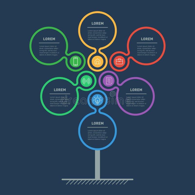 Presentación del negocio o concepto del infographics con 6 puntos web libre illustration