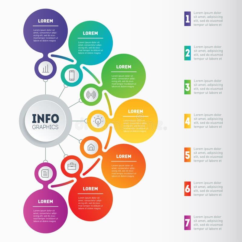 Presentación del negocio o infographic con 7 opciones Dyna del vector libre illustration