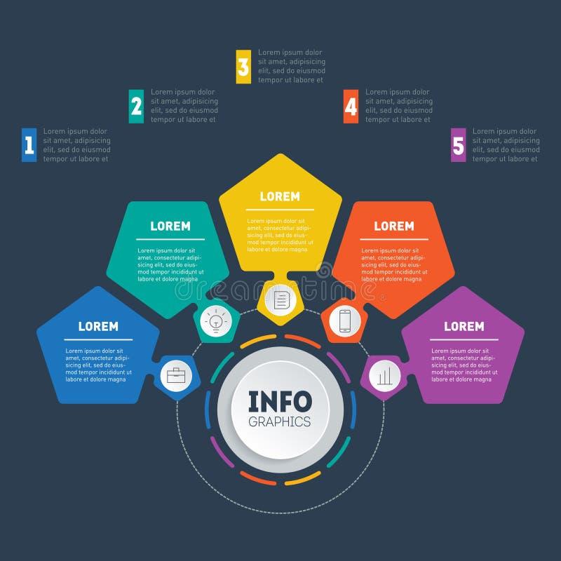 Presentación del negocio o infographic con 5 opciones Web Templat ilustración del vector