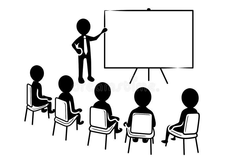 Presentación del negocio: Presidente con el tablero y los espectadores en blanco stock de ilustración