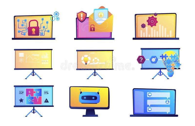 Presentación del negocio y sistema de los ejemplos del vector de la protección de datos libre illustration