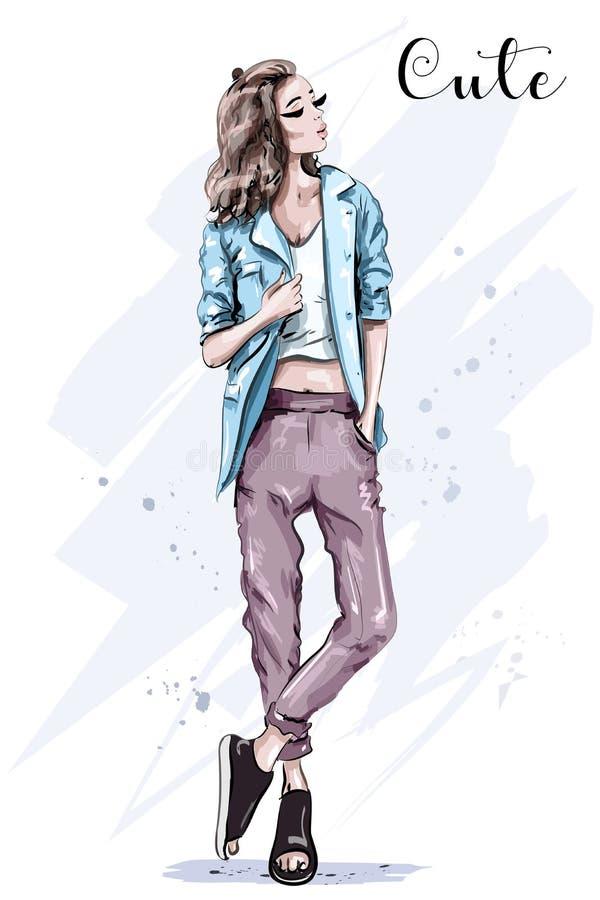 Presentación dibujada mano del modelo de moda Mujer hermosa elegante en chaqueta libre illustration