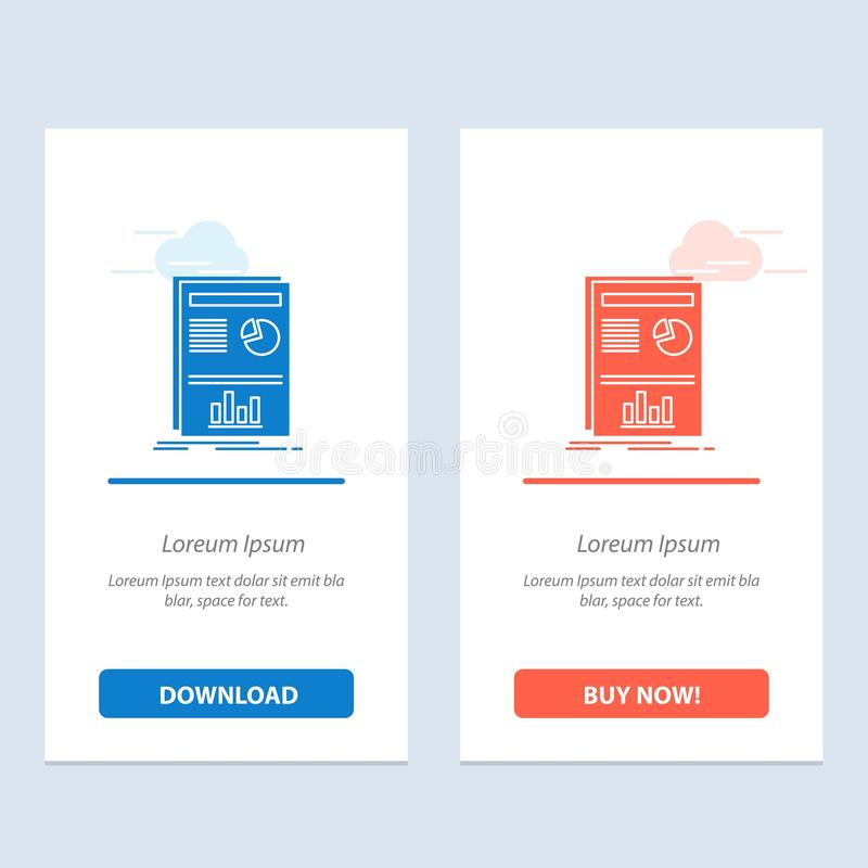Presentación, disposición, gráfico, azul del éxito y transferencia directa roja y ahora comprar la plantilla de la tarjeta del ap ilustración del vector
