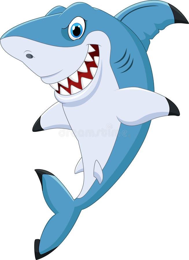 Presentación divertida del tiburón de la historieta ilustración del vector