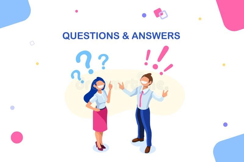 Presentación feliz del carácter de las preguntas y de las respuestas ilustración del vector