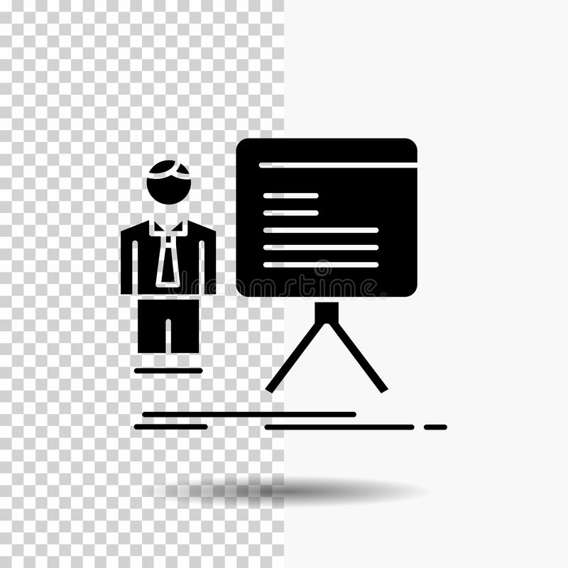 presentación, hombre de negocios, carta, gráfico, icono del Glyph del progreso en fondo transparente Icono negro stock de ilustración