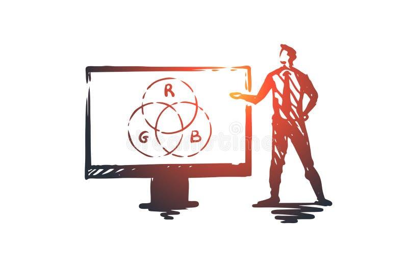 Presentación, hombre, negocio, tablero, concepto del altavoz Vector aislado dibujado mano stock de ilustración