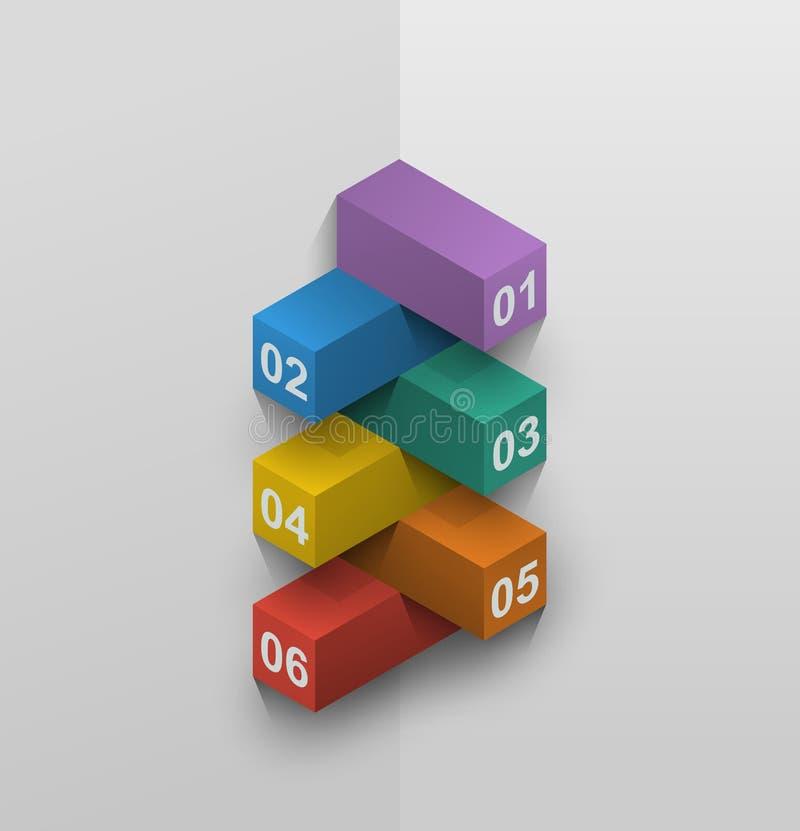 Presentación isométrica cruzada de los bloques de datos ilustración del vector
