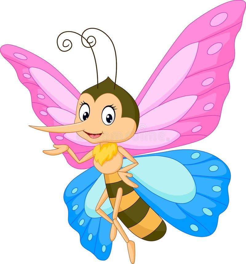 Presentación linda de la historieta de la mariposa ilustración del vector