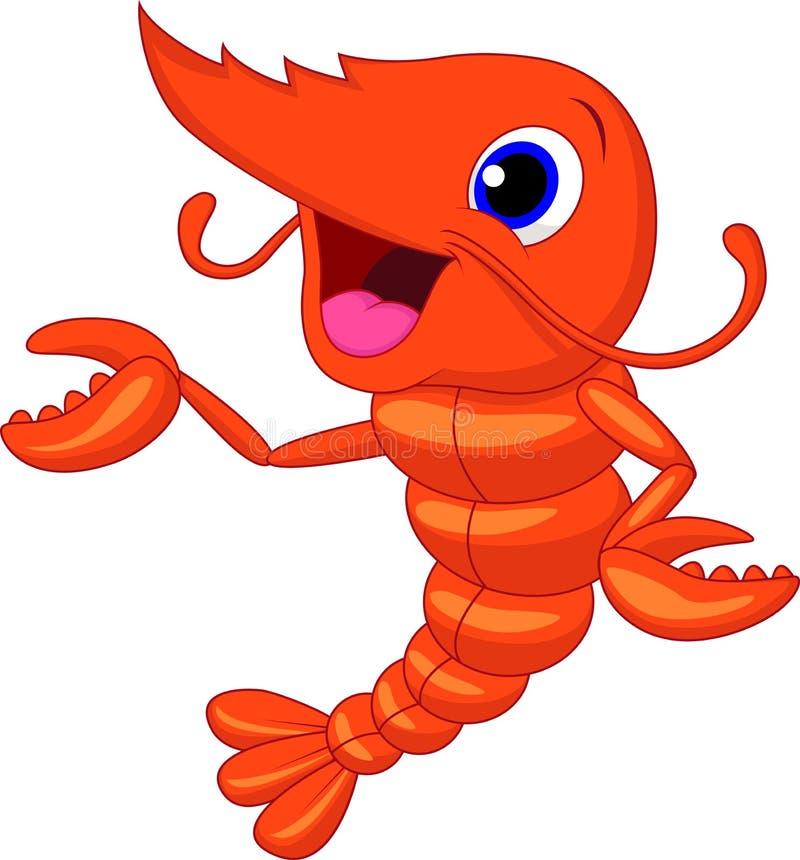 Presentación linda de la historieta del camarón ilustración del vector
