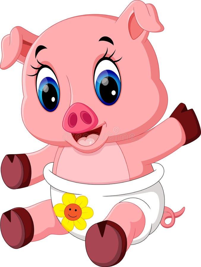 Presentación linda de la historieta del cerdo ilustración del vector