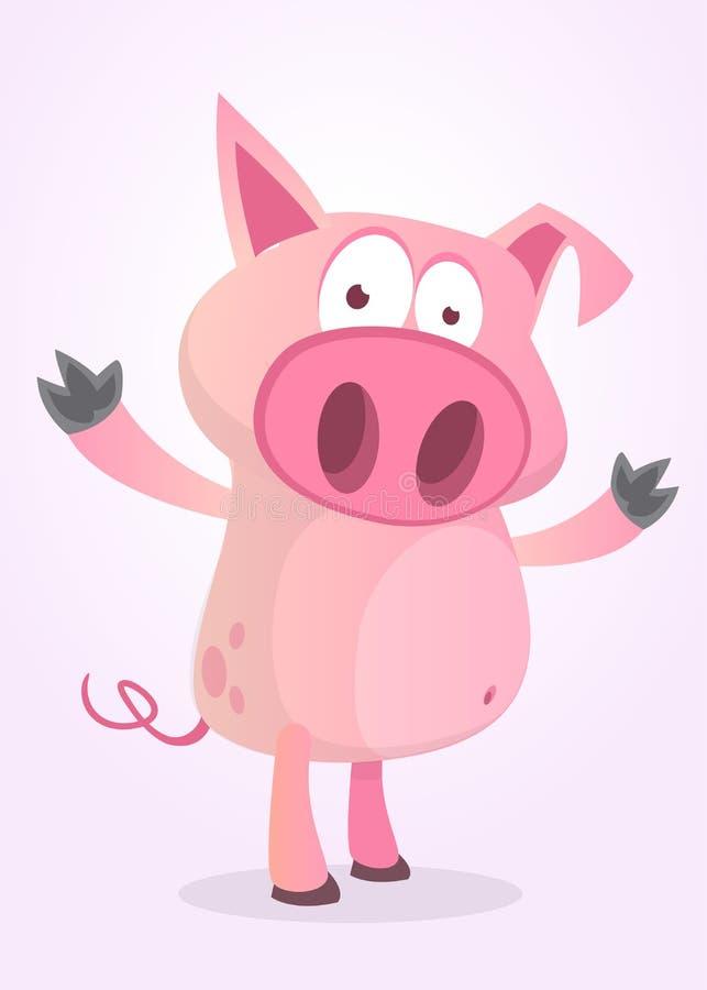 Presentación linda de la historieta del cerdo Vector ilustración del vector