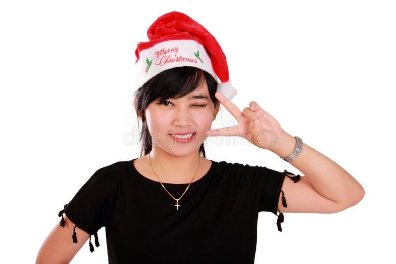 Presentación linda de la muchacha de Navidad fotos de archivo libres de regalías