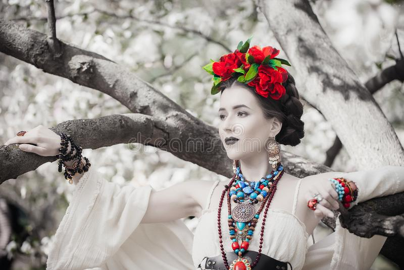 Presentación mexicana joven hermosa de la mujer fotografía de archivo