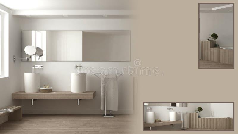 Presentación minimalista del cuarto de baño con el espacio y los detalles primer, idea del concepto del interiorista del arquitec ilustración del vector