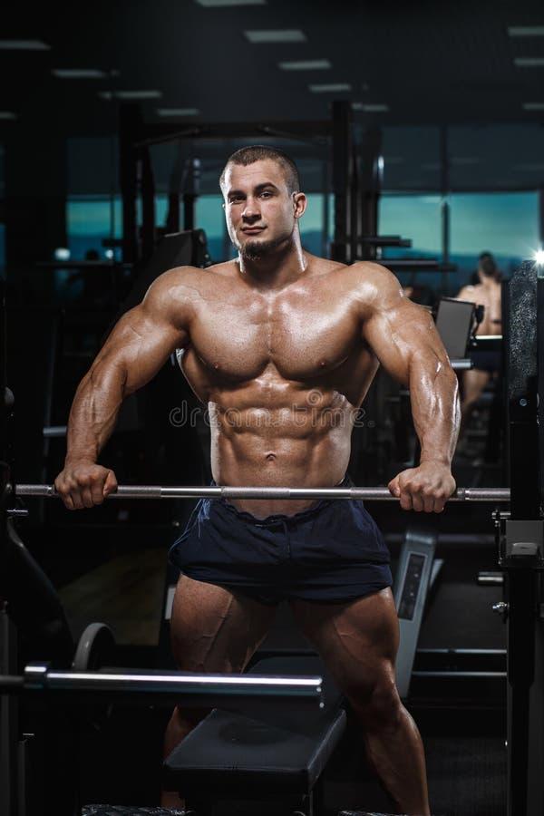 Presentación modelo de la aptitud atlética muscular del culturista imagen de archivo