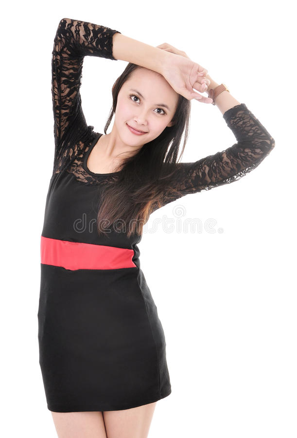 Presentación modelo de la mujer hermosa en vestido elegante fotos de archivo
