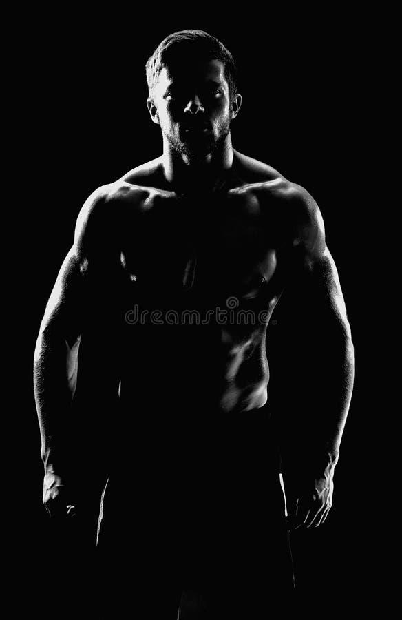 Presentación muscular joven del deportista del ajuste descamisada en backgroun negro fotografía de archivo