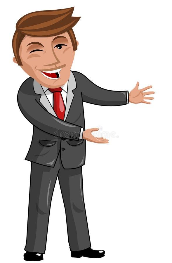 Presentación orgullosa del hombre de negocios de la historieta stock de ilustración
