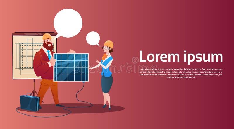 Presentación renovable de la estación del panel de energía solar del hombre y de la mujer ilustración del vector