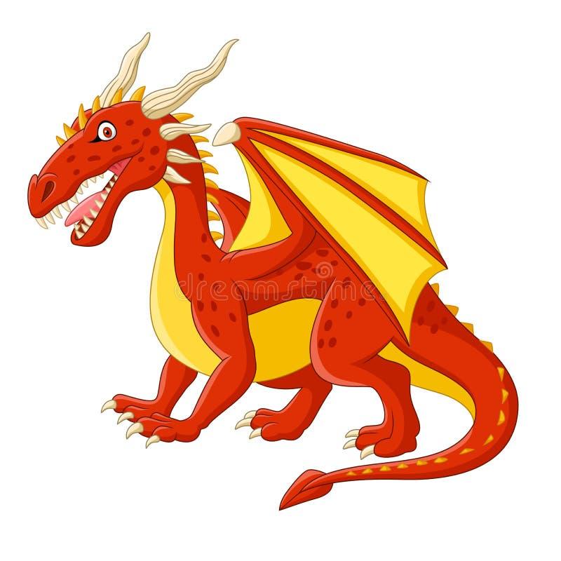 Presentación roja del dragón de la historieta stock de ilustración