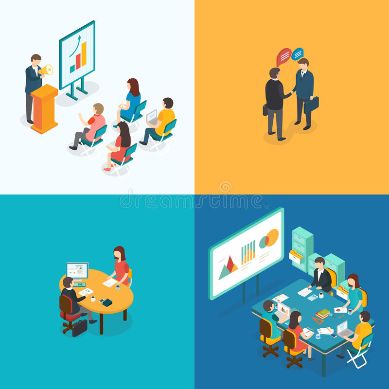 Presentación, sociedad, entrevista de trabajo, reunión de negocios libre illustration