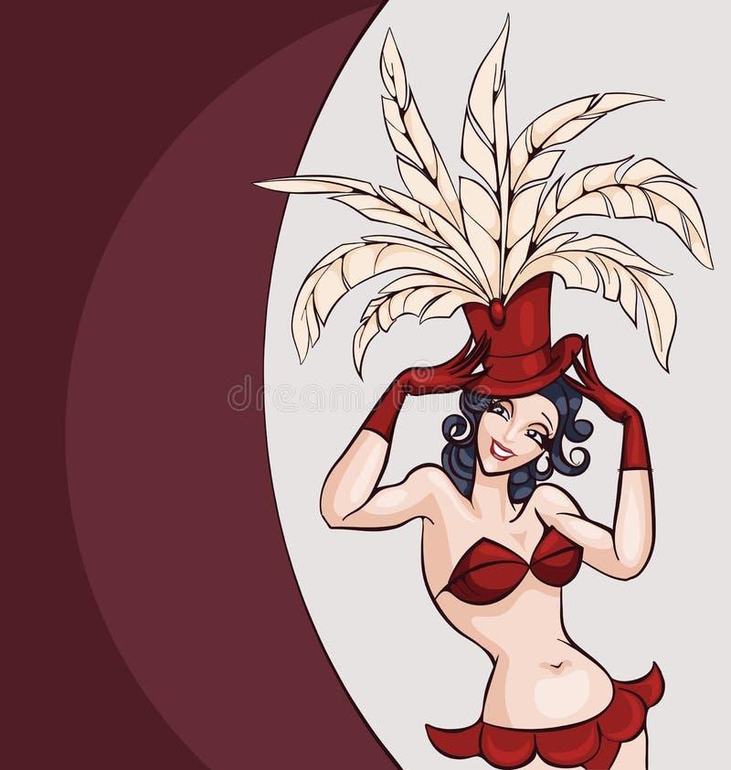 Presentación sonriente del bailarín del burlesque del ot del cabaret stock de ilustración