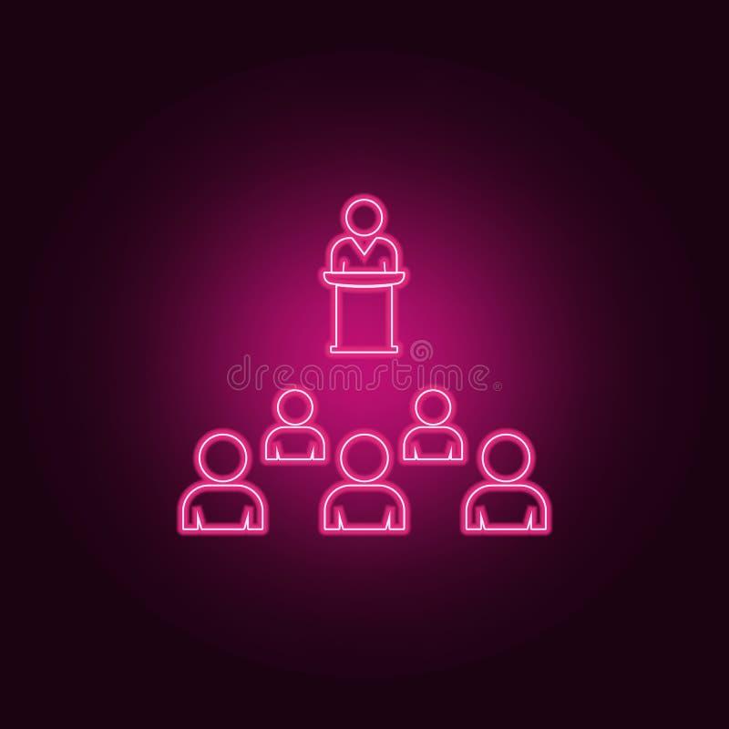 presentaci?n al icono de la audiencia Elementos de la conversaci?n y de la amistad en los iconos de ne?n del estilo Icono simple  ilustración del vector