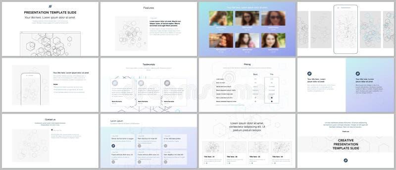 Presentaciones mínimas, plantillas de la cartera Elementos de color azules en blanco Diseño del vector de la cubierta del folleto stock de ilustración