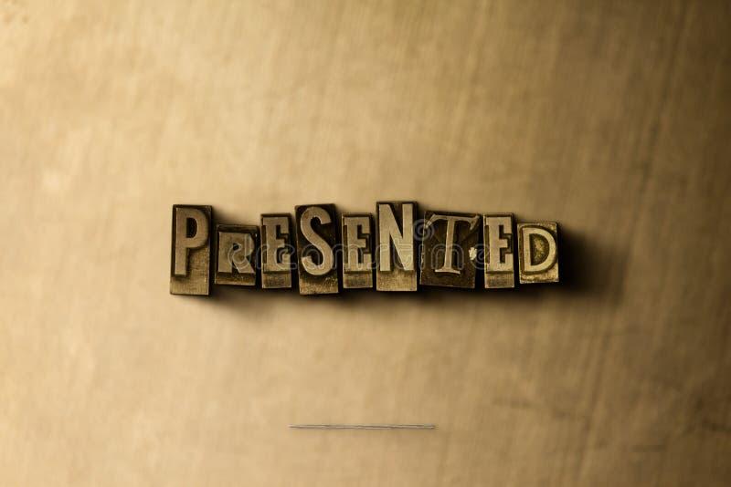 PRESENTADO - el primer del vintage sucio compuso tipo de palabra en el contexto del metal stock de ilustración