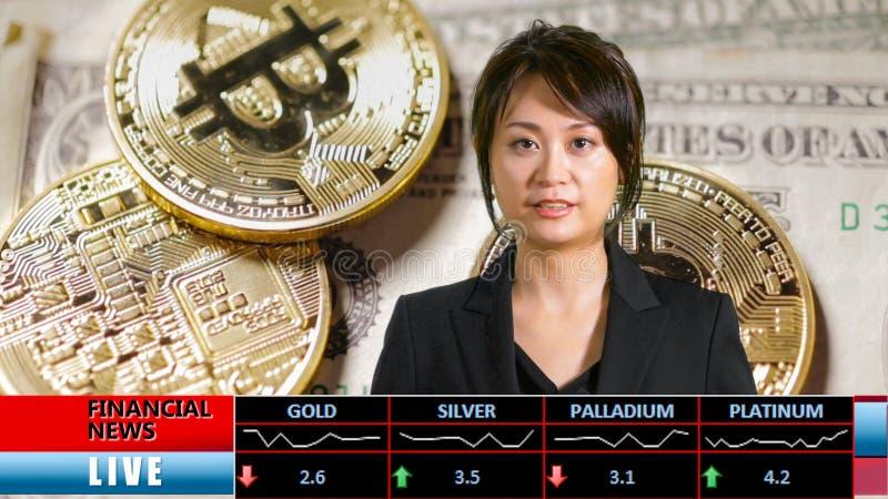 Presentador femenino asiático de las noticias financieras foto de archivo libre de regalías