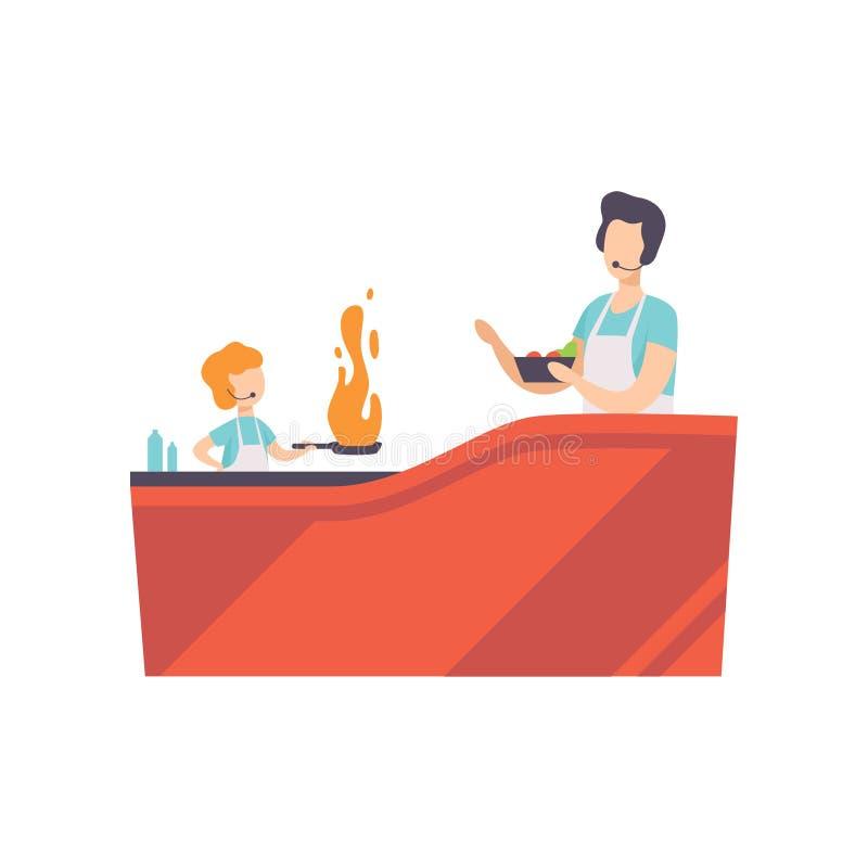 Presentador y niño de la TV que cocinan con el sartén en el estudio de la TV, cocinando el ejemplo del vector de la demostración  ilustración del vector