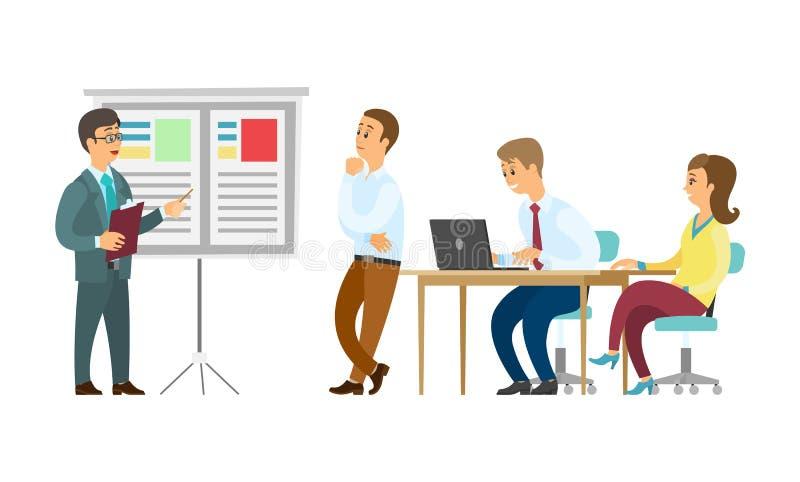 Presentatör och Whiteboard arbetare som lyssnar för att basa stock illustrationer