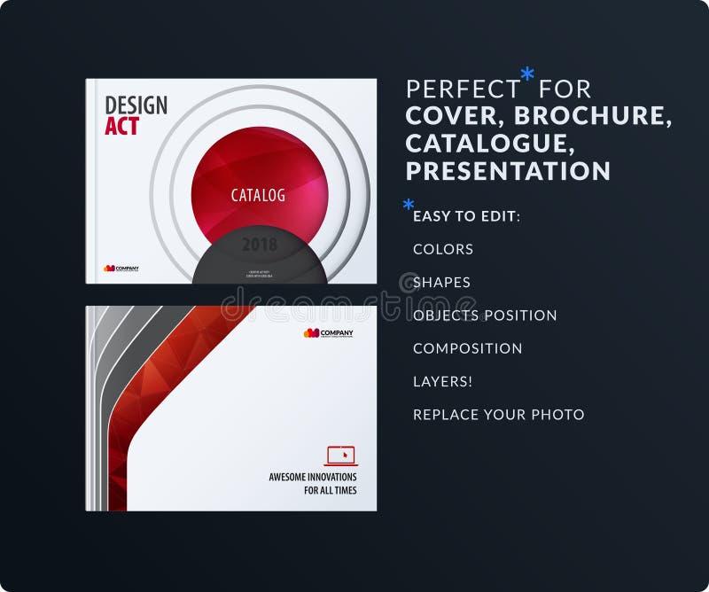 presentatie Abstracte rode vectorreeks moderne horizontale malplaatjes met kleurrijke vlotte vormen voor zaken, groepswerk vector illustratie
