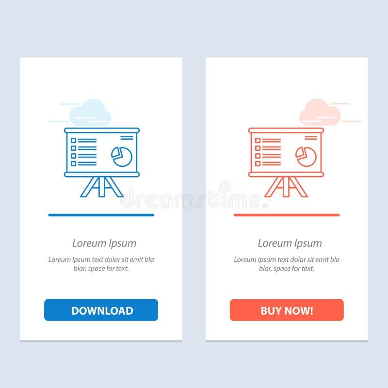 Presentatie, Analytics die, Zaken, Grafiek, Grafiek, meldt Blauwe en Rode Download en koopt nu de Kaartmalplaatje van Webwidget d stock illustratie
