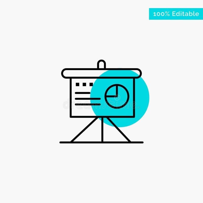 Presentatie, Analytics, Raad, het punt Vectorpictogram van de Bedrijfs turkoois hoogtepuntcirkel stock illustratie