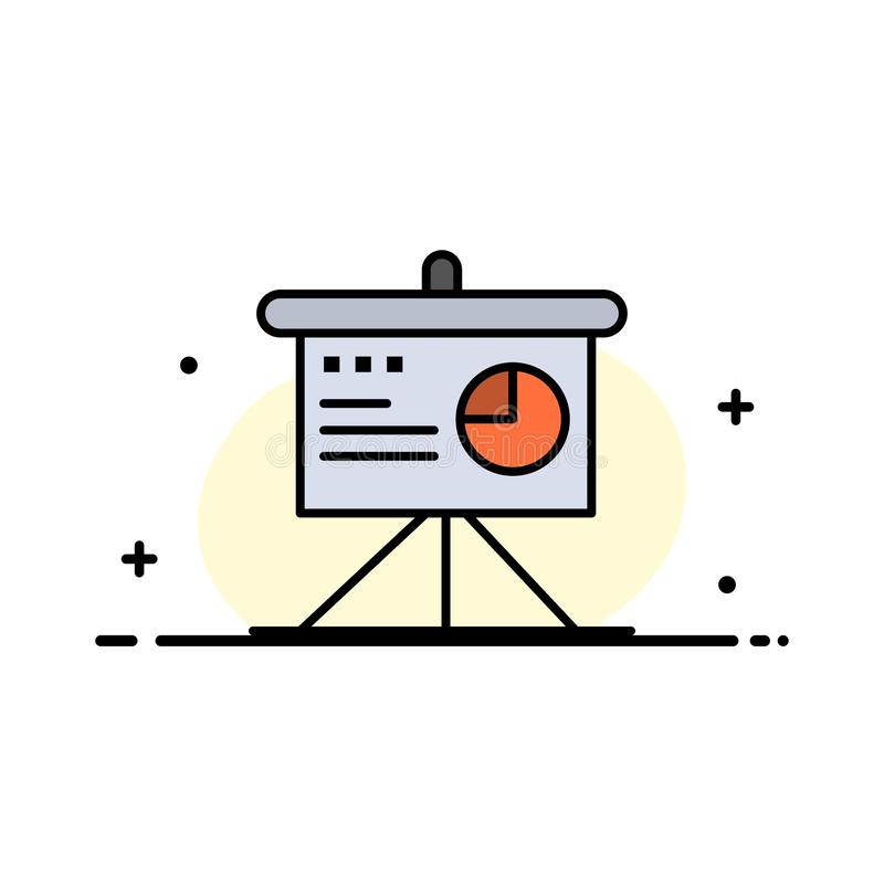 Presentatie, Analytics, Raad, Malplaatje Bedrijfs van de Bedrijfs het Vlakke Lijn Gevulde Pictogram Vectorbanner stock illustratie