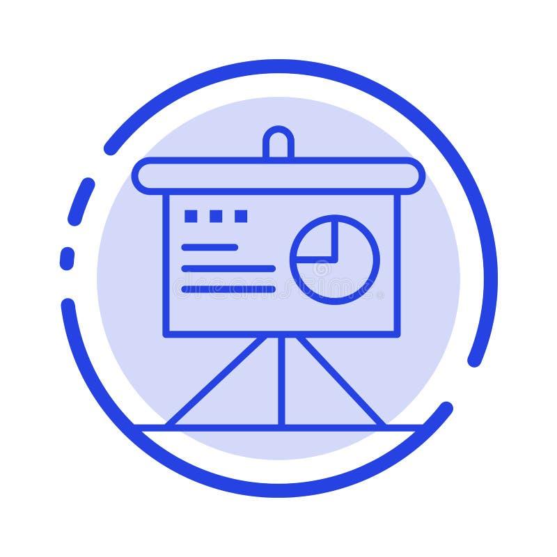 Presentatie, Analytics, Raad, Pictogram van de Bedrijfs het Blauwe Gestippelde Lijnlijn vector illustratie