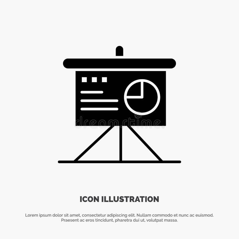 Presentatie, Analytics, Raad, Pictogramvector het Bedrijfs stevige van Glyph royalty-vrije illustratie