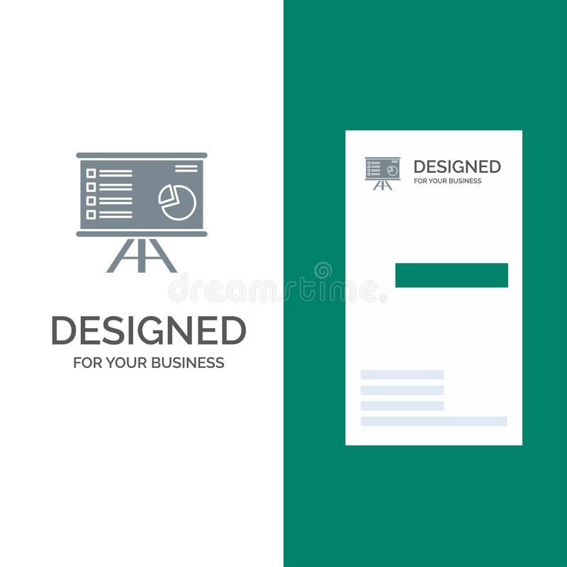Presentatie, Analytics, Zaken, Grafiek, Grafiek, Marketing, Rapport Grey Logo Design en Visitekaartjemalplaatje royalty-vrije illustratie
